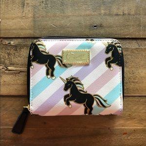 NWOT Betsey Johnson zip around unicorn wallet.